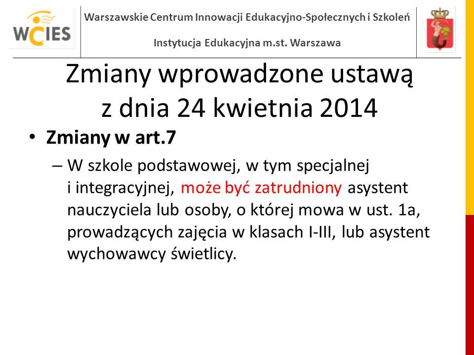 Warszawskie Centrum Innowacji Edukacyjno-Społecznych i Szkoleń Instytucja Edukacyjna m.st.
