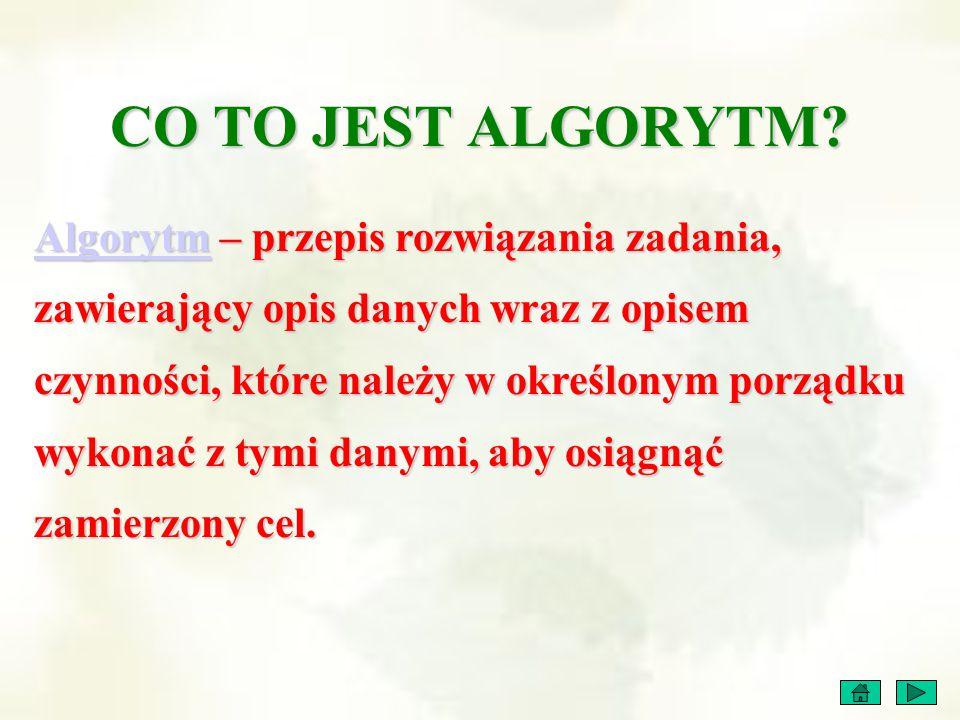 CO TO JEST ALGORYTM? AlgorytmAlgorytm – przepis rozwiązania zadania, zawierający opis danych wraz z opisem czynności, które należy w określonym porząd