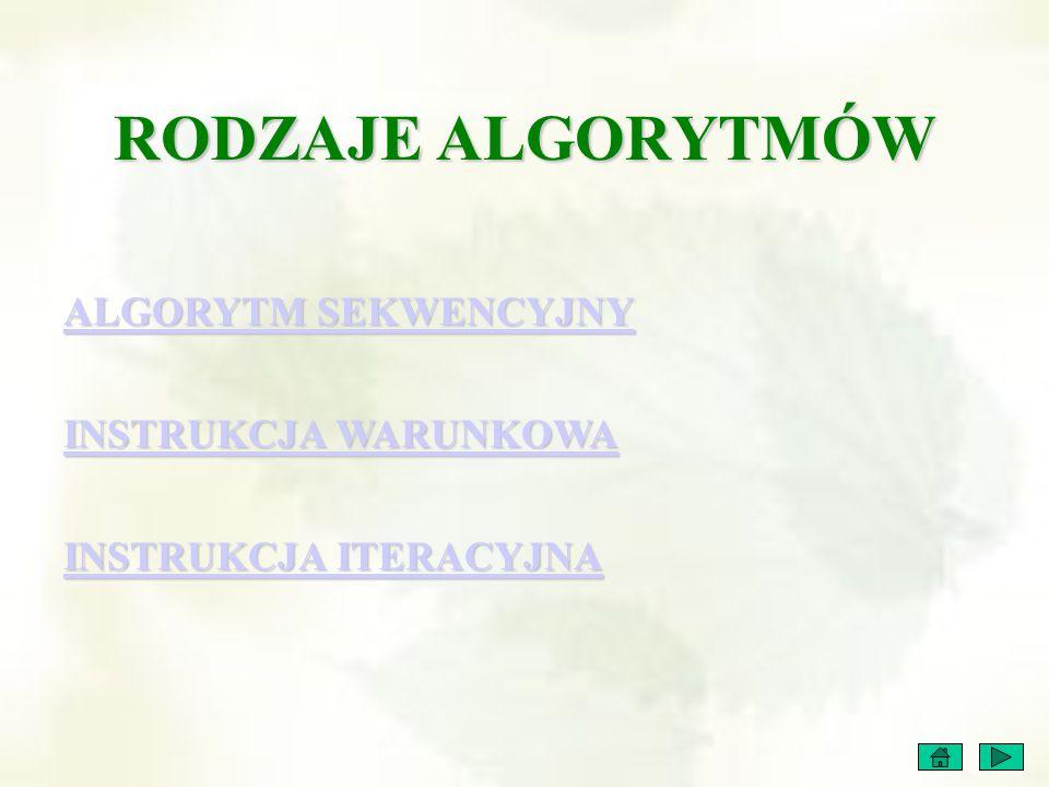 ALGORYTM SEKWENCYJNY (łac.sequentia – następstwo) Algorytm ten ma bardzo prostą strukturę.