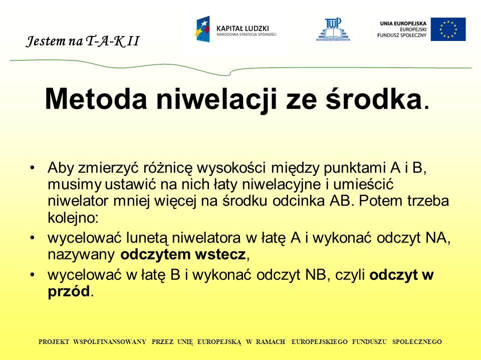 Jestem na T-A-K II PROJEKT WSPÓŁFINANSOWANY PRZEZ UNIĘ EUROPEJSKĄ W RAMACH EUROPEJSKIEGO FUNDUSZU SPOŁECZNEGO Metoda niwelacji ze środka.