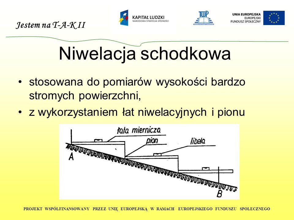 Jestem na T-A-K II PROJEKT WSPÓŁFINANSOWANY PRZEZ UNIĘ EUROPEJSKĄ W RAMACH EUROPEJSKIEGO FUNDUSZU SPOŁECZNEGO Niwelacja schodkowa stosowana do pomiarów wysokości bardzo stromych powierzchni, z wykorzystaniem łat niwelacyjnych i pionu
