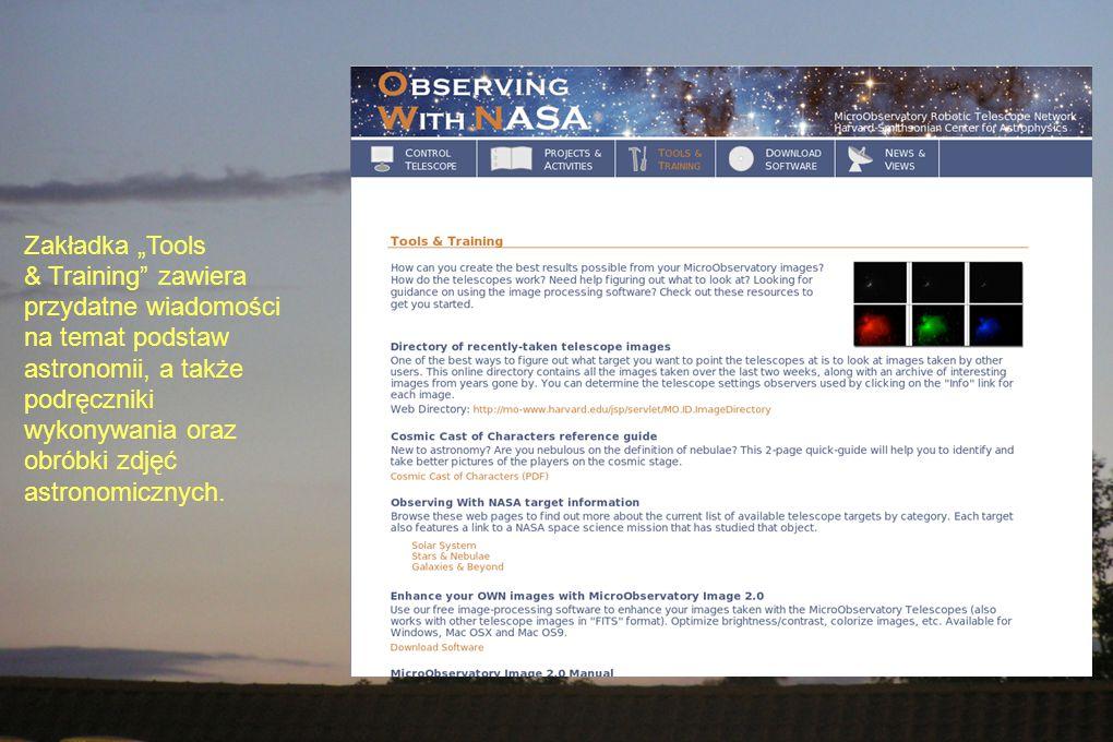 """Zakładka """"Tools & Training zawiera przydatne wiadomości na temat podstaw astronomii, a także podręczniki wykonywania oraz obróbki zdjęć astronomicznych."""