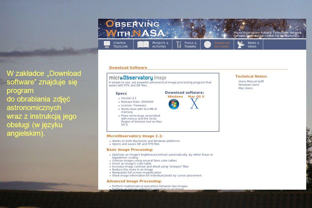 """W zakładce """"Download software znajduje się program do obrabiania zdjęć astronomicznych wraz z instrukcją jego obsługi (w języku angielskim)."""
