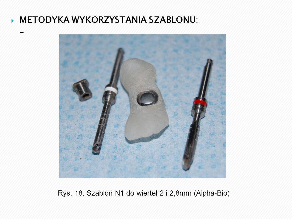  METODYKA WYKORZYSTANIA SZABLONU: - Rys. 18. Szablon N1 do wierteł 2 i 2,8mm (Alpha-Bio)