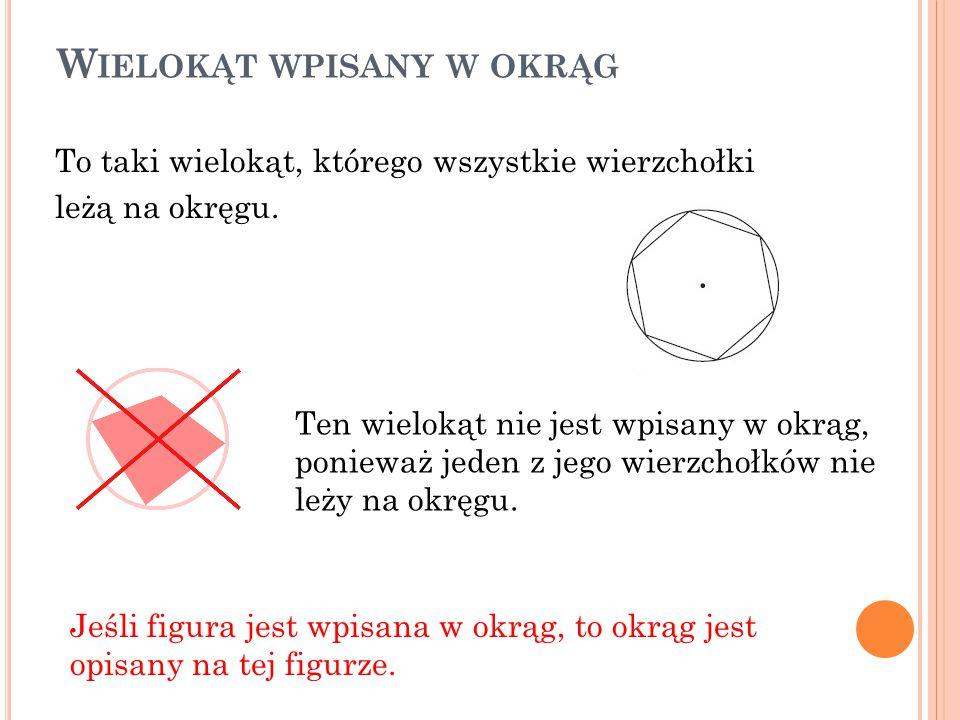 Środek okręgu w wielokącie wpisanym w ten okrąg jest równo oddalony od wierzchołków tego wielokąta.