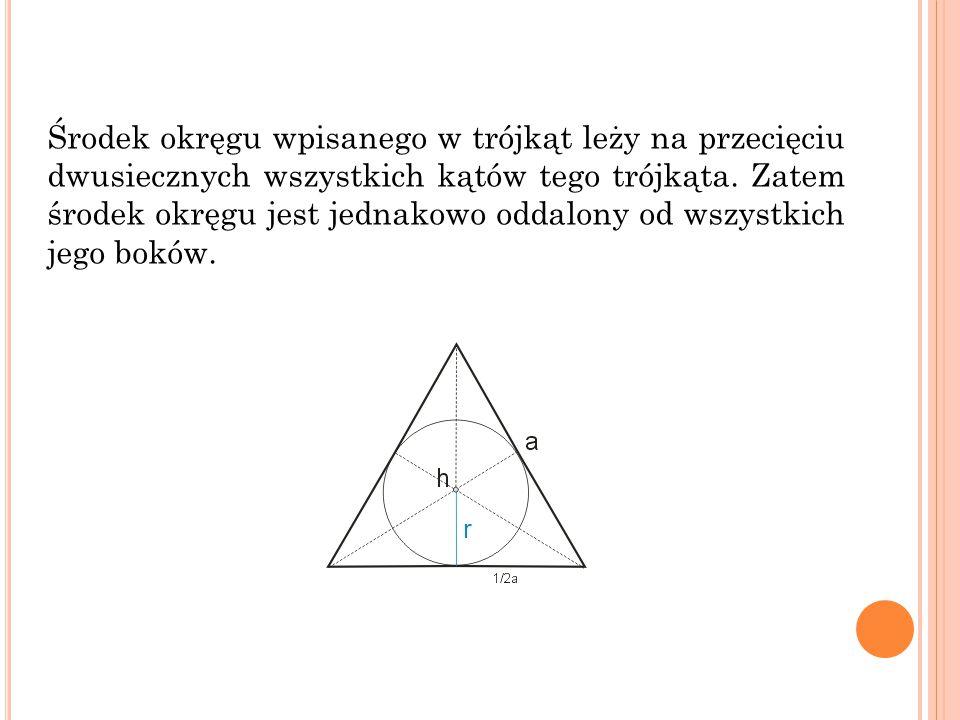 Środek okręgu wpisanego w trójkąt leży na przecięciu dwusiecznych wszystkich kątów tego trójkąta.