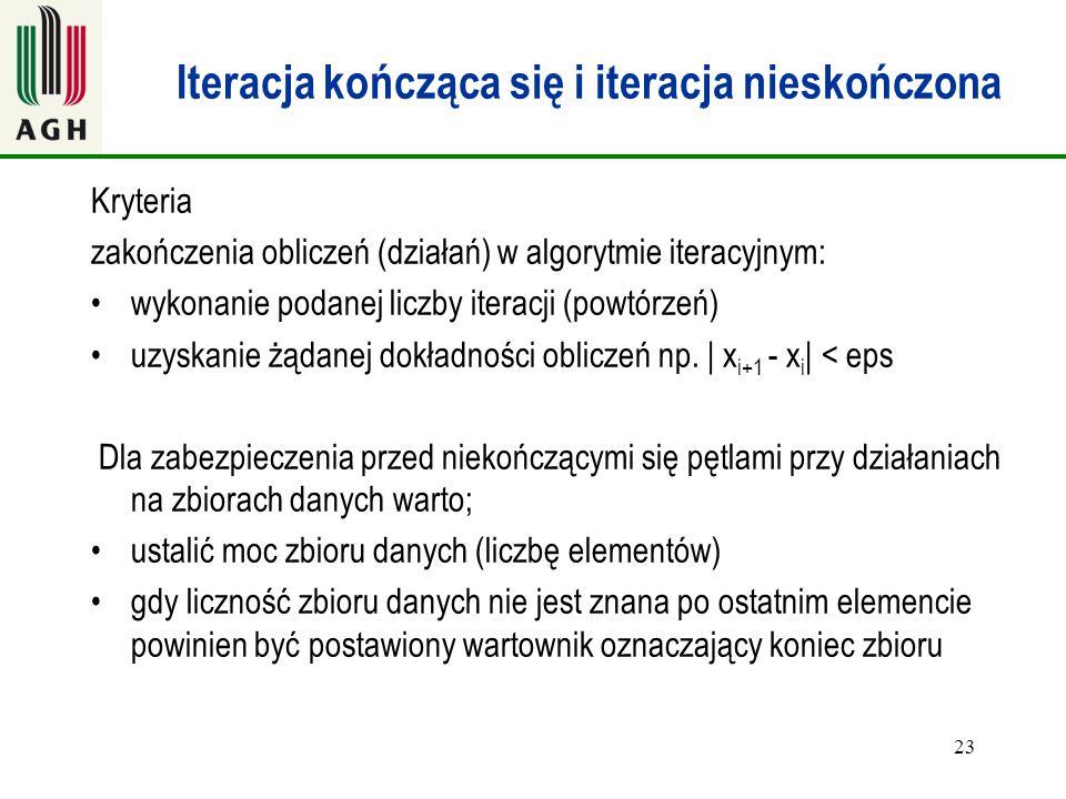 23 Iteracja kończąca się i iteracja nieskończona Kryteria zakończenia obliczeń (działań) w algorytmie iteracyjnym: wykonanie podanej liczby iteracji (