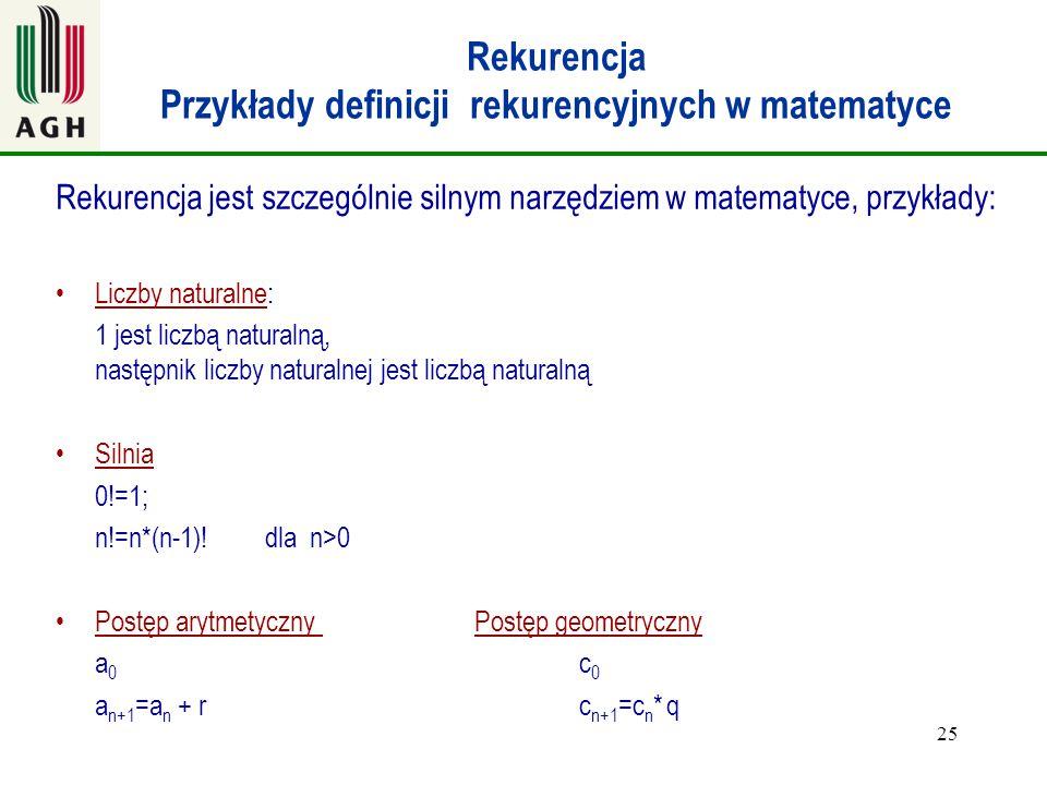 25 Rekurencja Przykłady definicji rekurencyjnych w matematyce Rekurencja jest szczególnie silnym narzędziem w matematyce, przykłady: Liczby naturalne: