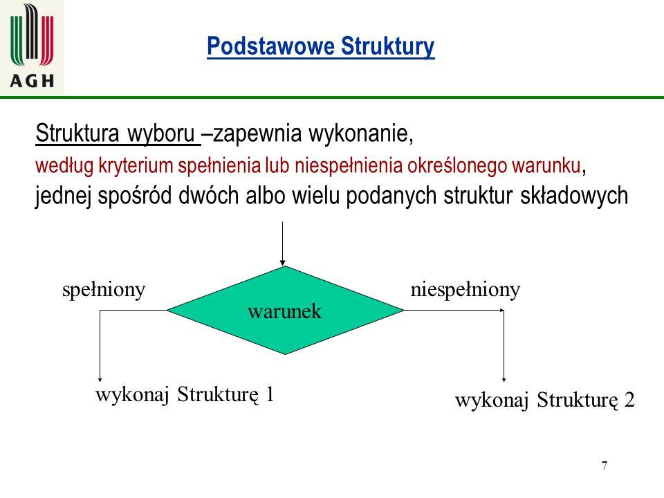 7 Podstawowe Struktury warunek Struktura wyboru –zapewnia wykonanie, według kryterium spełnienia lub niespełnienia określonego warunku, jednej spośród