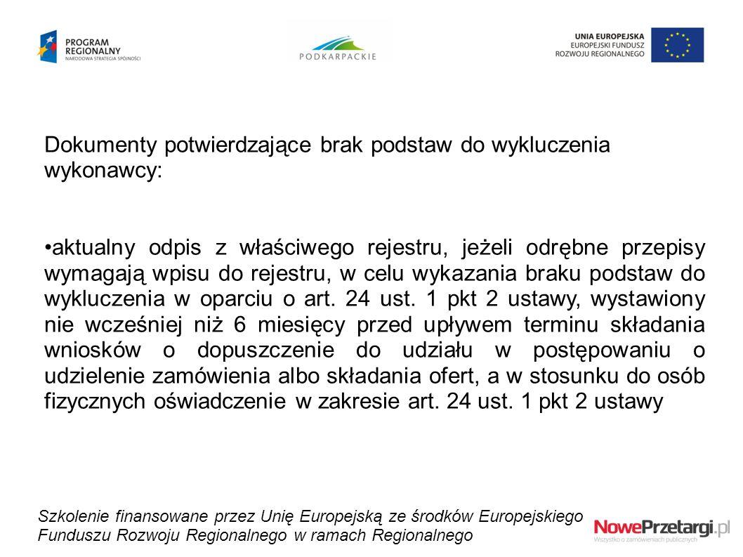 Dokumenty potwierdzające brak podstaw do wykluczenia wykonawcy: aktualny odpis z właściwego rejestru, jeżeli odrębne przepisy wymagają wpisu do rejest