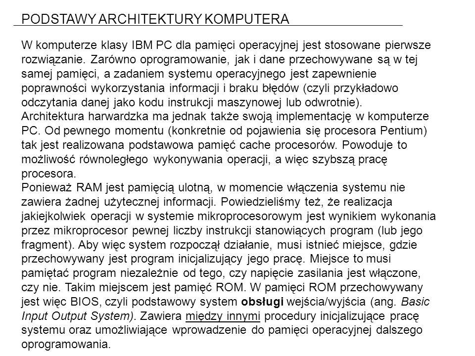 PODSTAWY ARCHITEKTURY KOMPUTERA W komputerze klasy IBM PC dla pamięci operacyjnej jest stosowane pierwsze rozwiązanie.