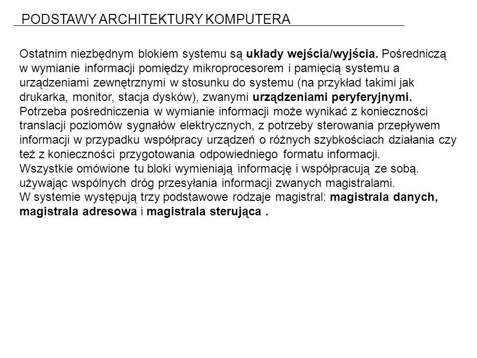 PODSTAWY ARCHITEKTURY KOMPUTERA Ostatnim niezbędnym blokiem systemu są układy wejścia/wyjścia.