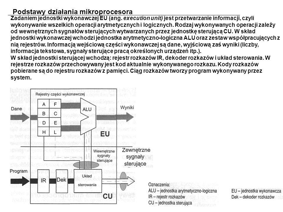 Podstawy działania mikroprocesora Zadaniem jednostki wykonawczej EU (ang.