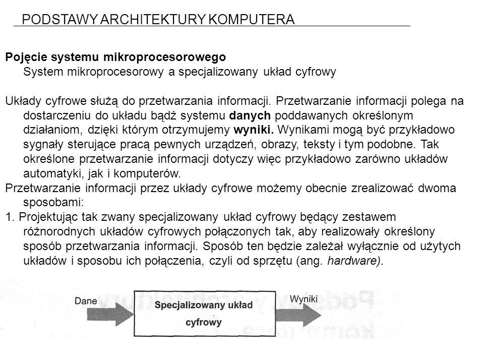 PODSTAWY ARCHITEKTURY KOMPUTERA Pojęcie systemu mikroprocesorowego System mikroprocesorowy a specjalizowany układ cyfrowy Układy cyfrowe służą do przetwarzania informacji.