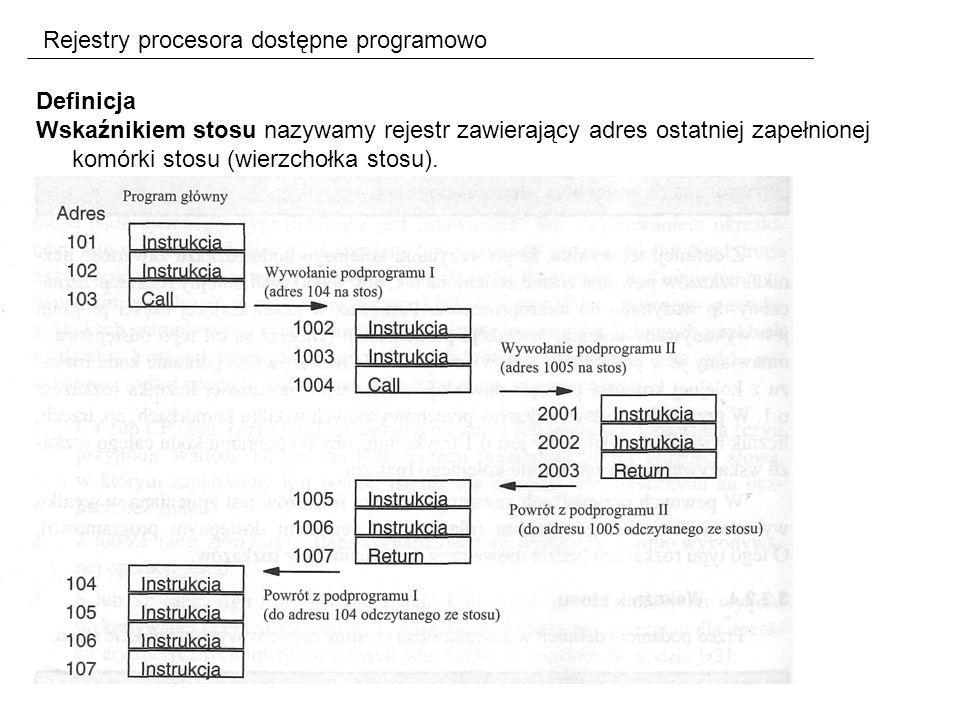 Rejestry procesora dostępne programowo Definicja Wskaźnikiem stosu nazywamy rejestr zawierający adres ostatniej zapełnionej komórki stosu (wierzchołka stosu).