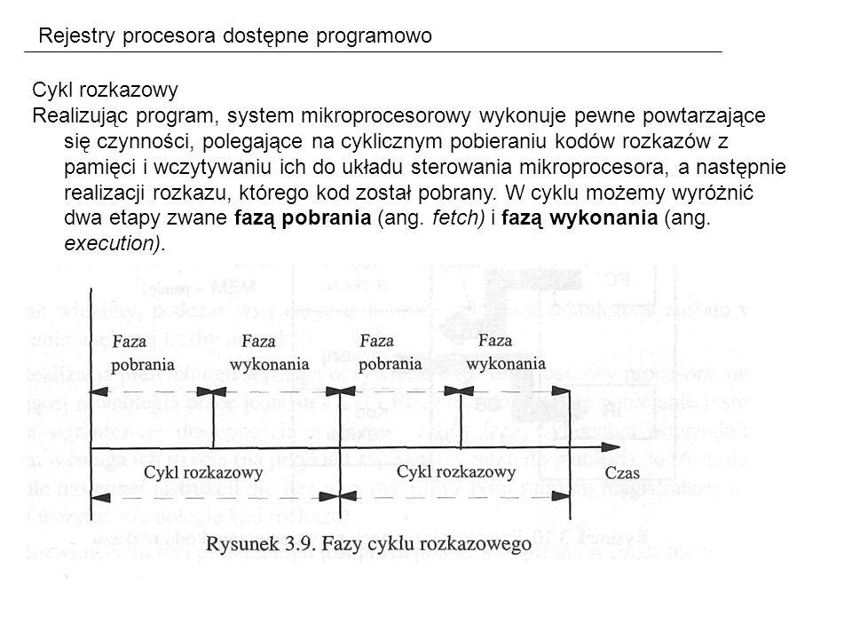 Rejestry procesora dostępne programowo Cykl rozkazowy Realizując program, system mikroprocesorowy wykonuje pewne powtarzające się czynności, polegające na cyklicznym pobieraniu kodów rozkazów z pamięci i wczytywaniu ich do układu sterowania mikroprocesora, a następnie realizacji rozkazu, którego kod został pobrany.
