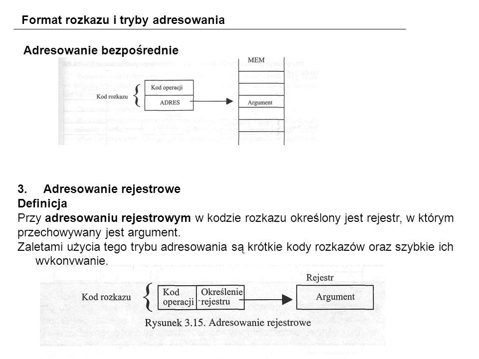 Format rozkazu i tryby adresowania 3.