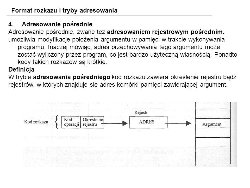 Format rozkazu i tryby adresowania 4.