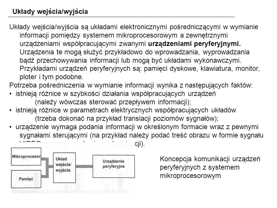 Układy wejścia/wyjścia Układy wejścia/wyjścia są układami elektronicznymi pośredniczącymi w wymianie informacji pomiędzy systemem mikroprocesorowym a zewnętrznymi urządzeniami współpracującymi zwanymi urządzeniami peryferyjnymi.