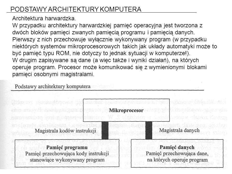 PODSTAWY ARCHITEKTURY KOMPUTERA Architektura harwardzka.