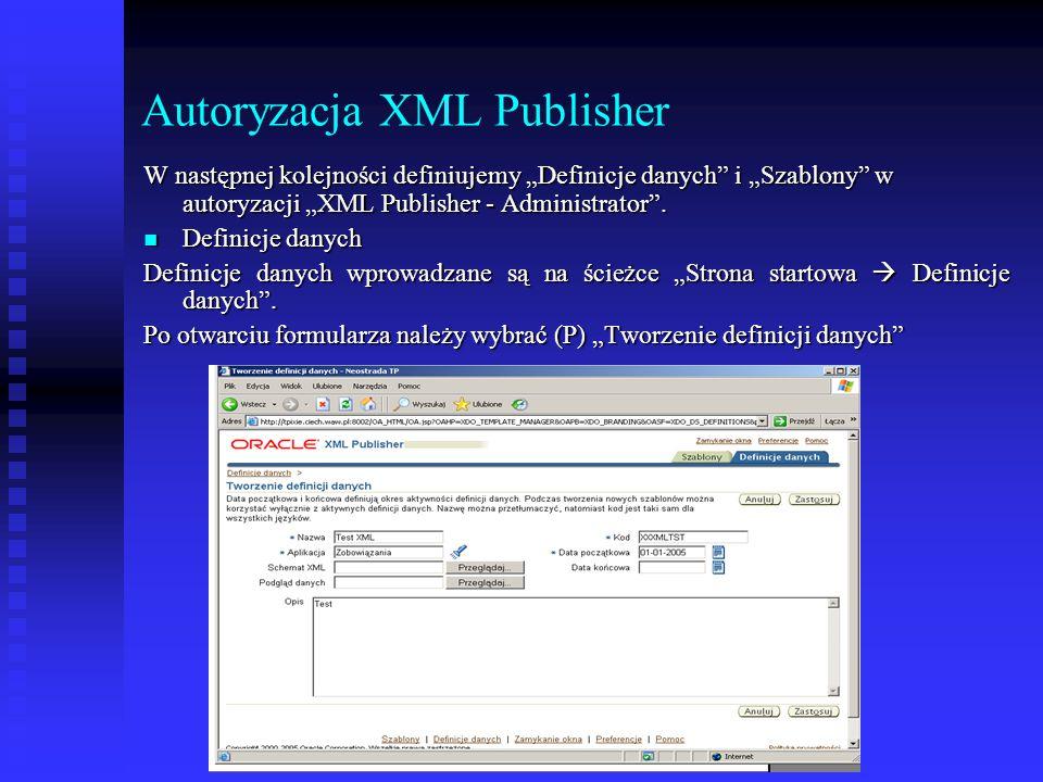 """Autoryzacja XML Publisher W następnej kolejności definiujemy """"Definicje danych"""" i """"Szablony"""" w autoryzacji """"XML Publisher - Administrator"""". Definicje"""