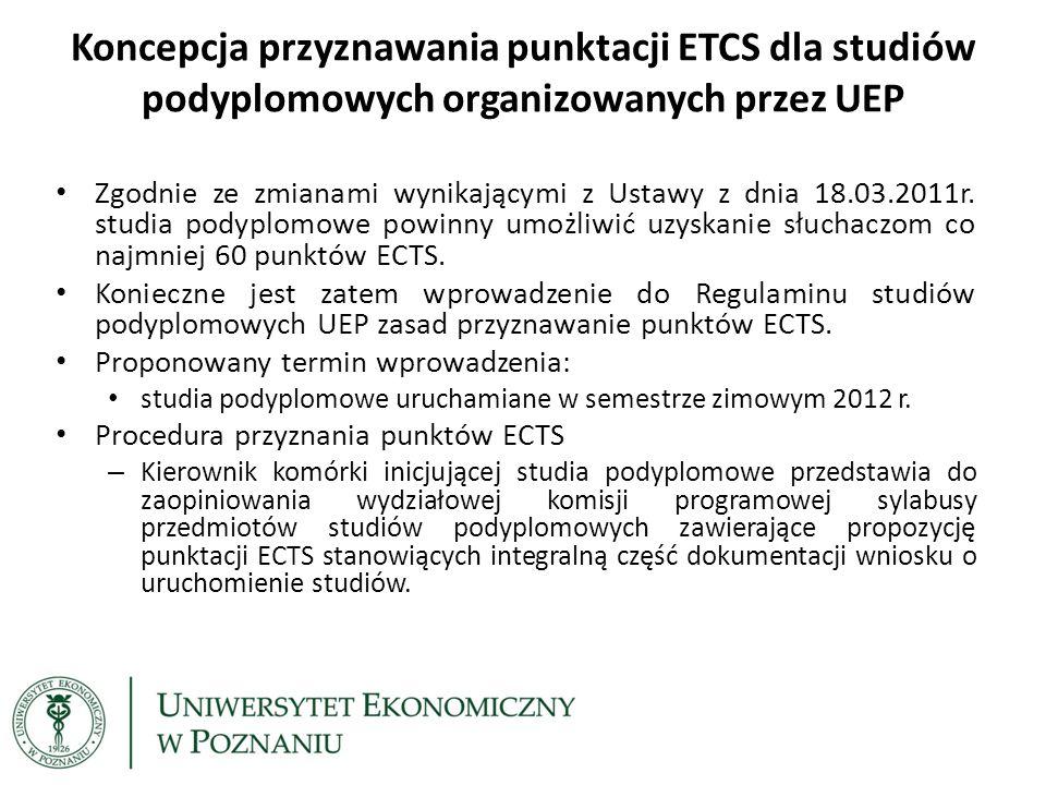 Koncepcja przyznawania punktacji ETCS dla studiów podyplomowych organizowanych przez UEP Propozycja punktacji ECTS – Program studiów podyplomowych zawiera minimum 10 przedmiotów, które – 5 przedmiotów zaliczanych jest przez egzamin.