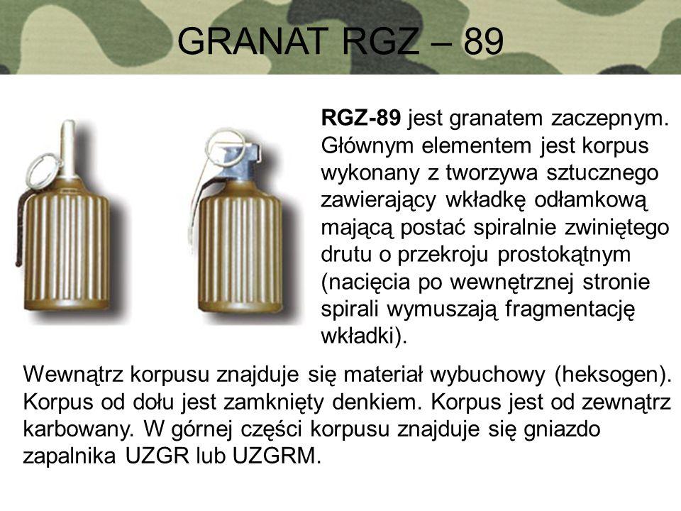 GRANAT RGZ – 89 RGZ-89 jest granatem zaczepnym. Głównym elementem jest korpus wykonany z tworzywa sztucznego zawierający wkładkę odłamkową mającą post