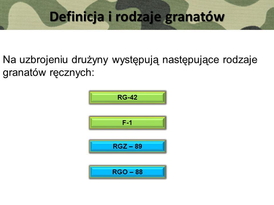 Definicja i rodzaje granatów Na uzbrojeniu drużyny występują następujące rodzaje granatów ręcznych: RG-42 F-1 RGZ – 89 RGO – 88