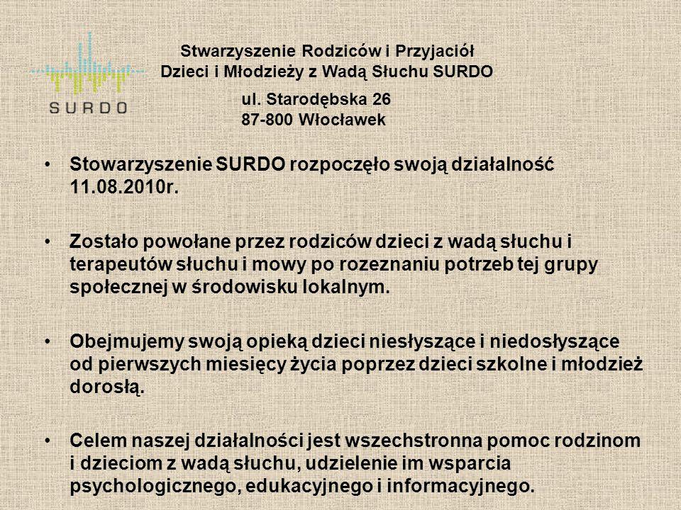Stowarzyszenie SURDO rozpoczęło swoją działalność 11.08.2010r. Zostało powołane przez rodziców dzieci z wadą słuchu i terapeutów słuchu i mowy po roze