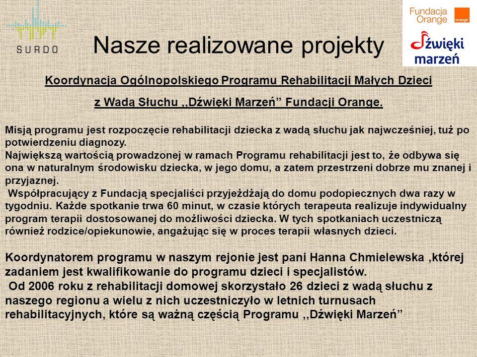 """Nasze realizowane projekty Koordynacja Ogólnopolskiego Programu Rehabilitacji Małych Dzieci z Wadą Słuchu,,Dźwięki Marzeń"""" Fundacji Orange. Misją prog"""