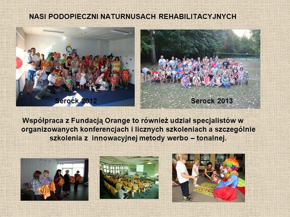 NASI PODOPIECZNI NATURNUSACH REHABILITACYJNYCH Współpraca z Fundacją Orange to również udział specjalistów w organizowanych konferencjach i licznych s