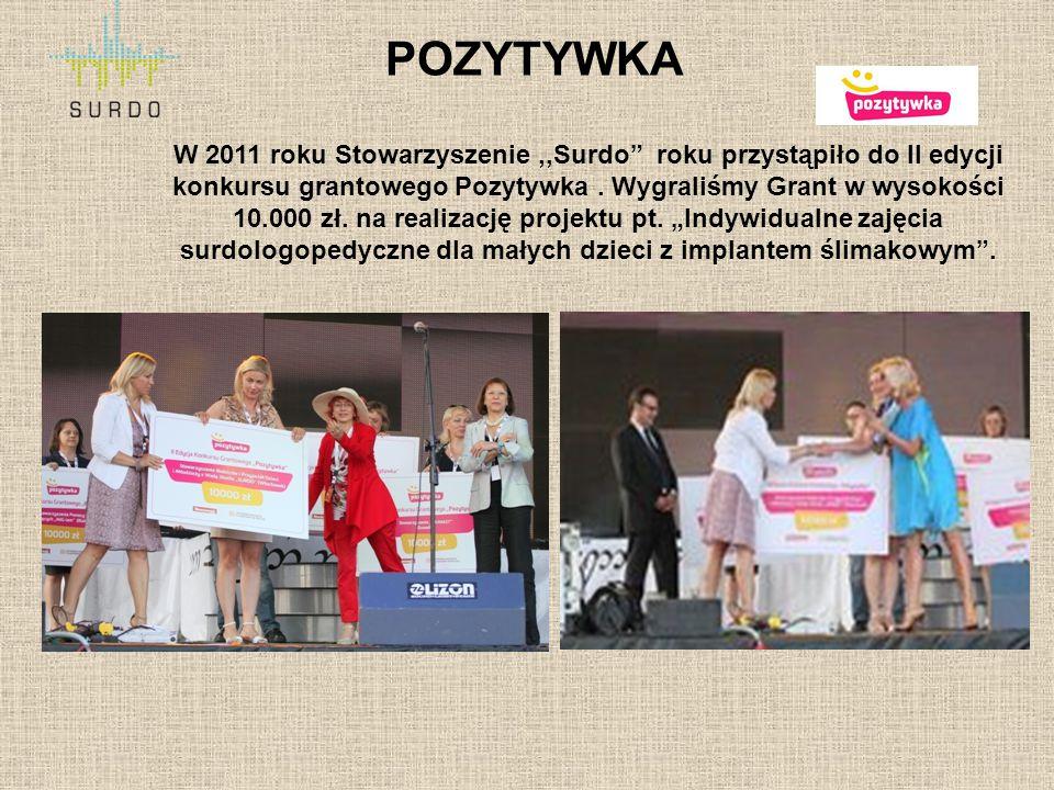 """POZYTYWKA W 2011 roku Stowarzyszenie,,Surdo"""" roku przystąpiło do II edycji konkursu grantowego Pozytywka. Wygraliśmy Grant w wysokości 10.000 zł. na r"""