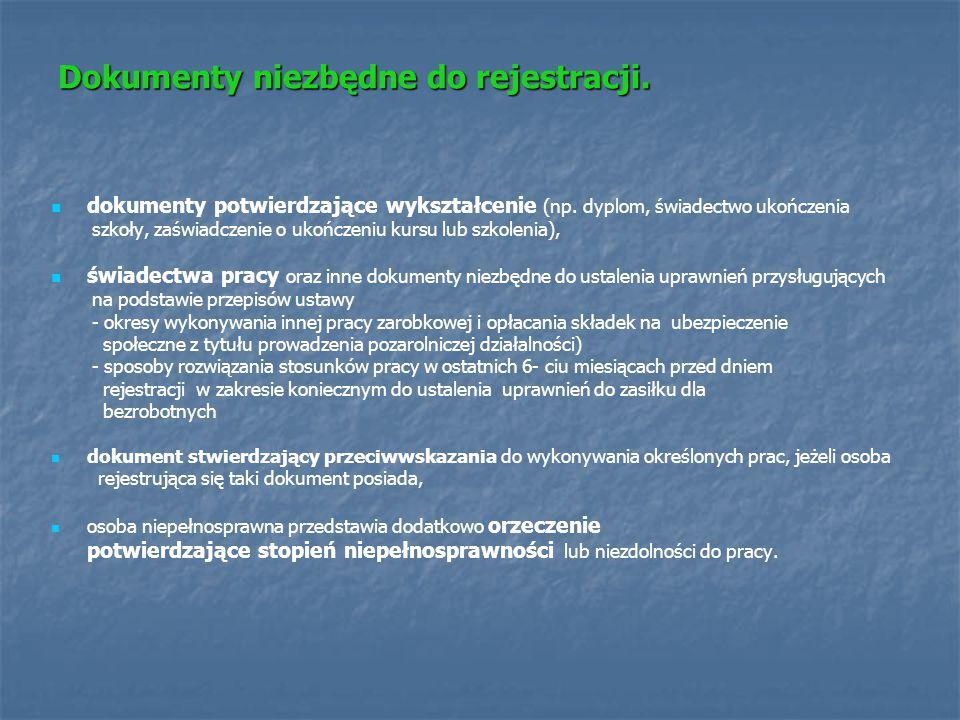 Dokumenty niezbędne do rejestracji. dokumenty potwierdzające wykształcenie (np. dyplom, świadectwo ukończenia szkoły, zaświadczenie o ukończeniu kursu