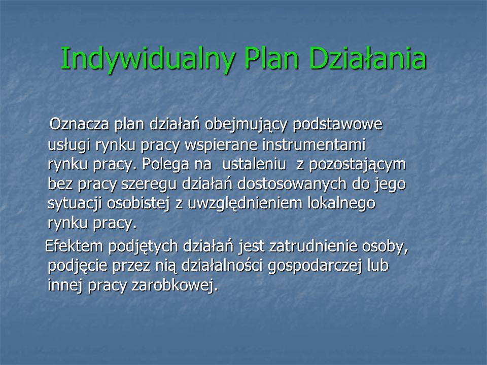 Indywidualny Plan Działania Oznacza plan działań obejmujący podstawowe usługi rynku pracy wspierane instrumentami rynku pracy. Polega na ustaleniu z p