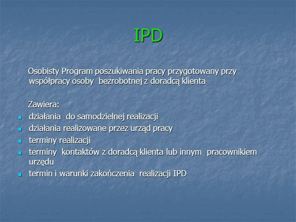 IPD Osobisty Program poszukiwania pracy przygotowany przy współpracy osoby bezrobotnej z doradcą klienta Osobisty Program poszukiwania pracy przygotow