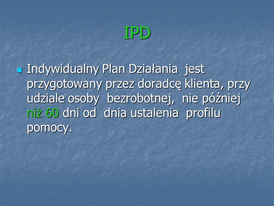 IPD Indywidualny Plan Działania jest przygotowany przez doradcę klienta, przy udziale osoby bezrobotnej, nie później niż 60 dni od dnia ustalenia prof