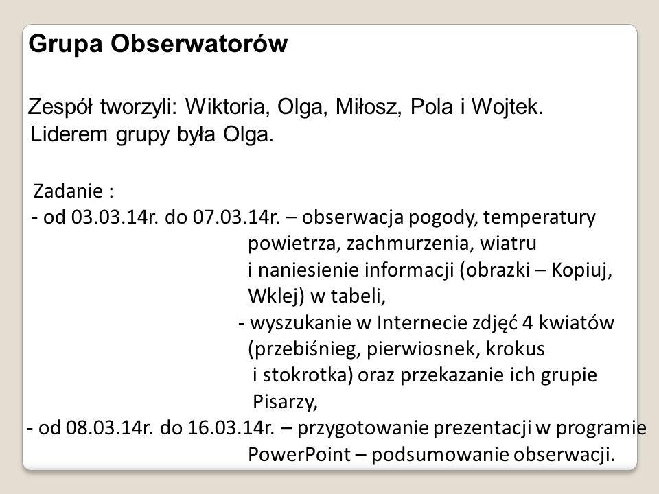 Grupa Obserwatorów Zespół tworzyli: Wiktoria, Olga, Miłosz, Pola i Wojtek. Liderem grupy była Olga. Zadanie : - od 03.03.14r. do 07.03.14r. – obserwac