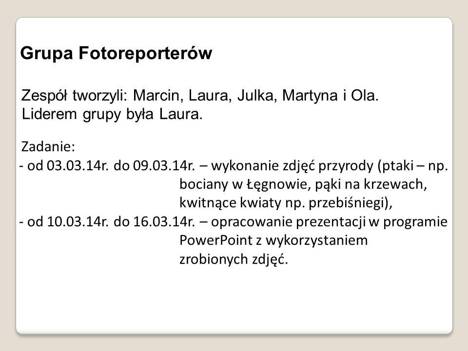 Grupa Fotoreporterów Zespół tworzyli: Marcin, Laura, Julka, Martyna i Ola. Liderem grupy była Laura. Zadanie: - od 03.03.14r. do 09.03.14r. – wykonani