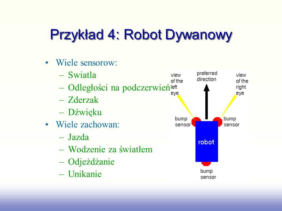 Przykład 4: Robot Dywanowy Wiele sensorow: –Swiatla –Odległości na podczerwień –Zderzak –Dźwięku Wiele zachowan: –Jazda –Wodzenie za światłem –Odjeżdżanie –Unikanie