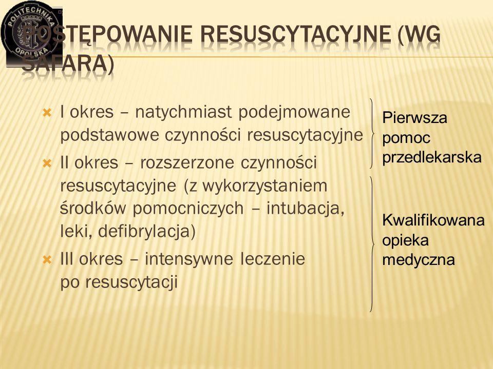  I okres – natychmiast podejmowane podstawowe czynności resuscytacyjne  II okres – rozszerzone czynności resuscytacyjne (z wykorzystaniem środków po
