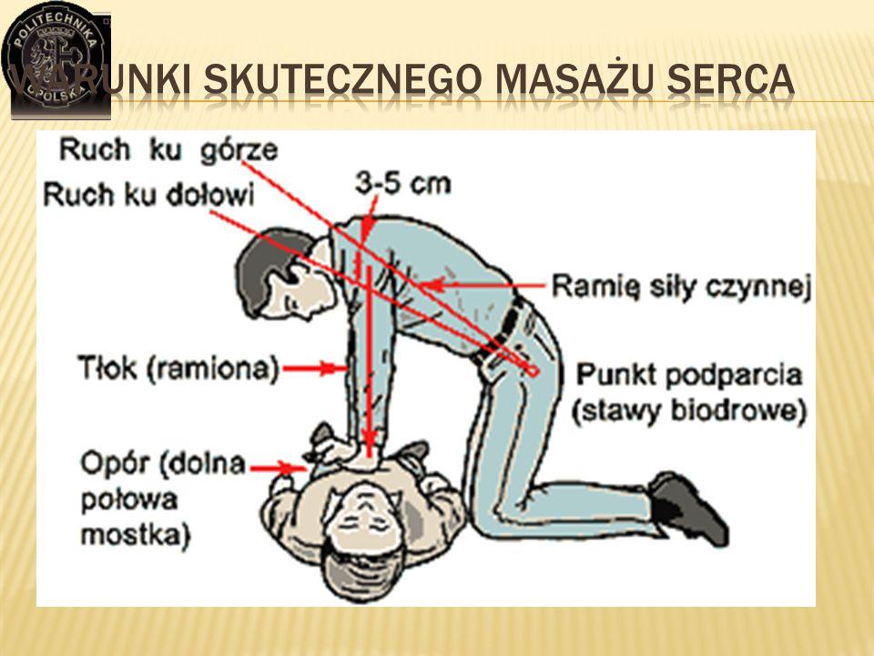  Twarde podłoże  Właściwy punkt przyłożenia rąk:  1/3 dolna mostka (2 palce powyżej końca mostka)  Do klatki piersiowej przylegają tylko nadgarstk