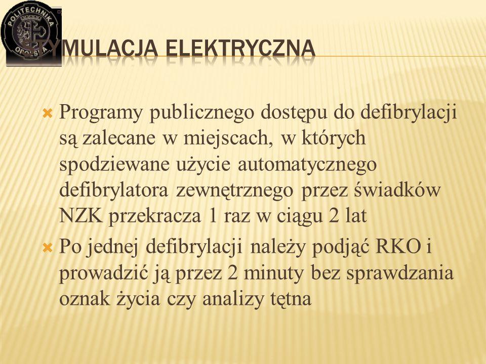  Programy publicznego dostępu do defibrylacji są zalecane w miejscach, w których spodziewane użycie automatycznego defibrylatora zewnętrznego przez ś