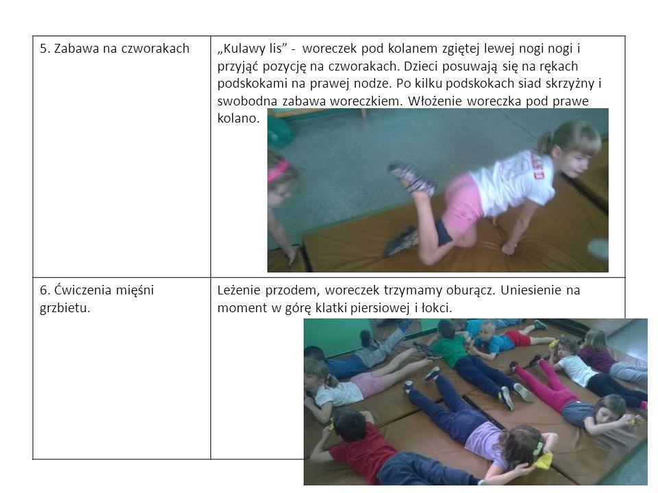 """5. Zabawa na czworakach""""Kulawy lis"""" - woreczek pod kolanem zgiętej lewej nogi nogi i przyjąć pozycję na czworakach. Dzieci posuwają się na rękach pods"""