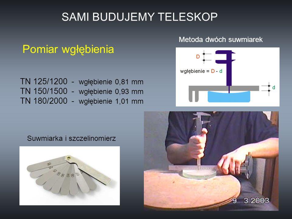 Pomiar wgłębienia TN 125/1200 - wgłębienie 0,81 mm TN 150/1500 - wgłębienie 0,93 mm TN 180/2000 - wgłębienie 1,01 mm Metoda dwóch suwmiarek SAMI BUDUJ