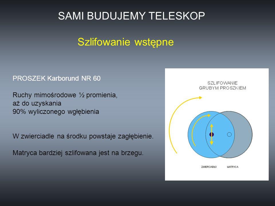PROSZEK Karborund NR 60 Ruchy mimośrodowe ½ promienia, aż do uzyskania 90% wyliczonego wgłębienia W zwierciadle na środku powstaje zagłębienie. Matryc
