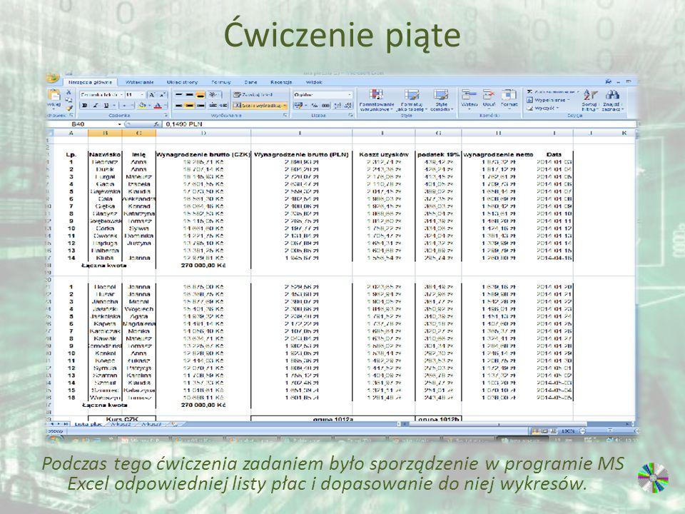 Ćwiczenie piąte Podczas tego ćwiczenia zadaniem było sporządzenie w programie MS Excel odpowiedniej listy płac i dopasowanie do niej wykresów.