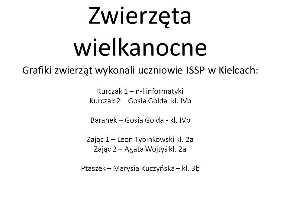 Zwierzęta wielkanocne Grafiki zwierząt wykonali uczniowie ISSP w Kielcach: Kurczak 1 – n-l informatyki Kurczak 2 – Gosia Golda kl. IVb Baranek – Gosia