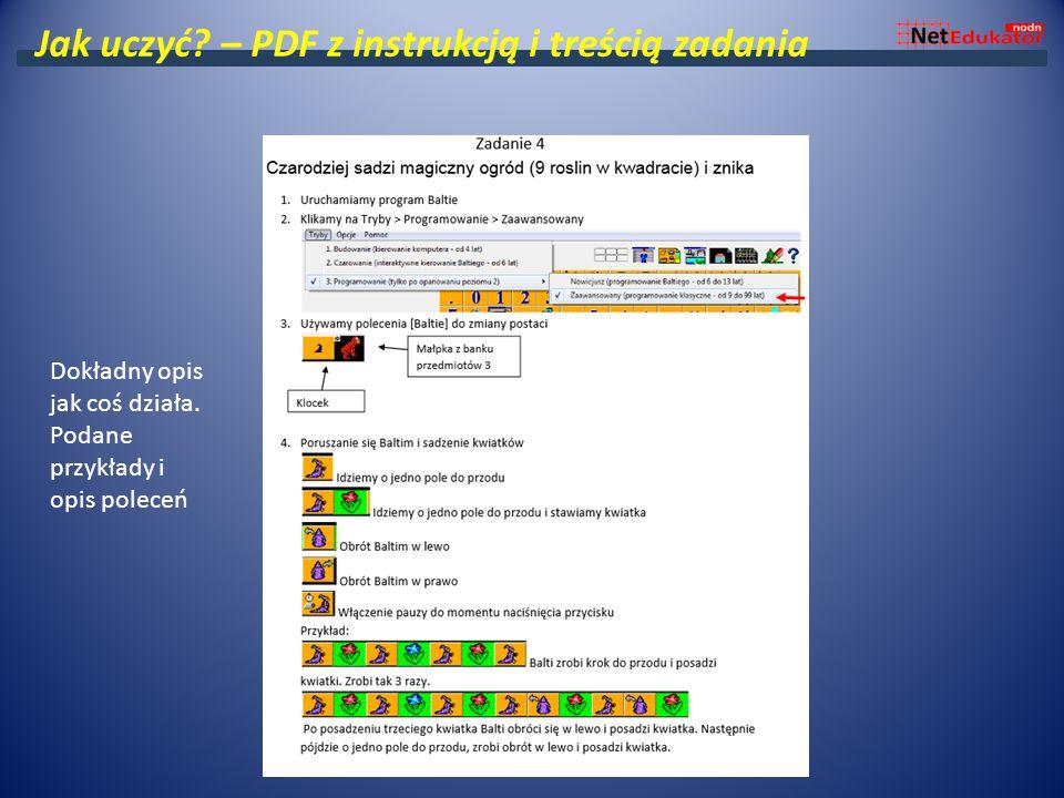 Jak uczyć? – PDF z instrukcją i treścią zadania Dokładny opis jak coś działa. Podane przykłady i opis poleceń