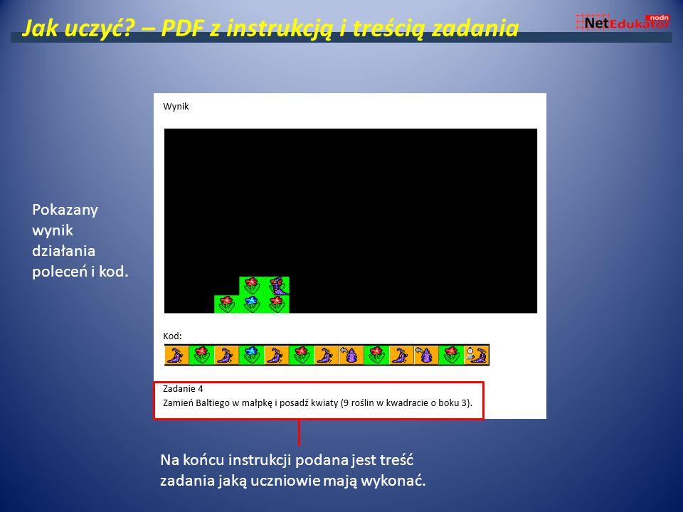 Jak uczyć? – PDF z instrukcją i treścią zadania Pokazany wynik działania poleceń i kod. Na końcu instrukcji podana jest treść zadania jaką uczniowie m