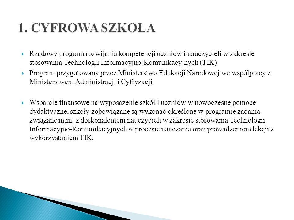  Rządowy program rozwijania kompetencji uczniów i nauczycieli w zakresie stosowania Technologii Informacyjno-Komunikacyjnych (TIK)  Program przygoto
